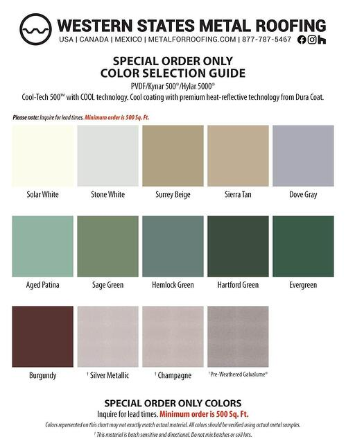 """Kynar Color Card - Special Order Colors for 7/8"""" Corrugated"""