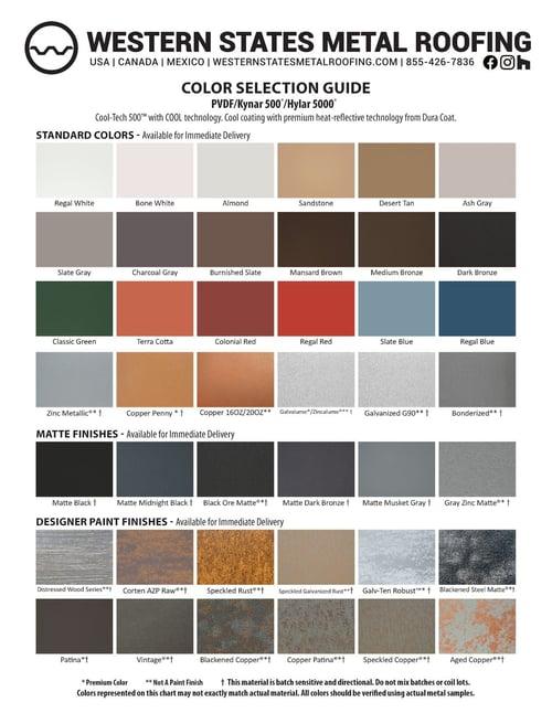 "Kynar Color Card - Standard Colors for 7/8"" Corrugated"
