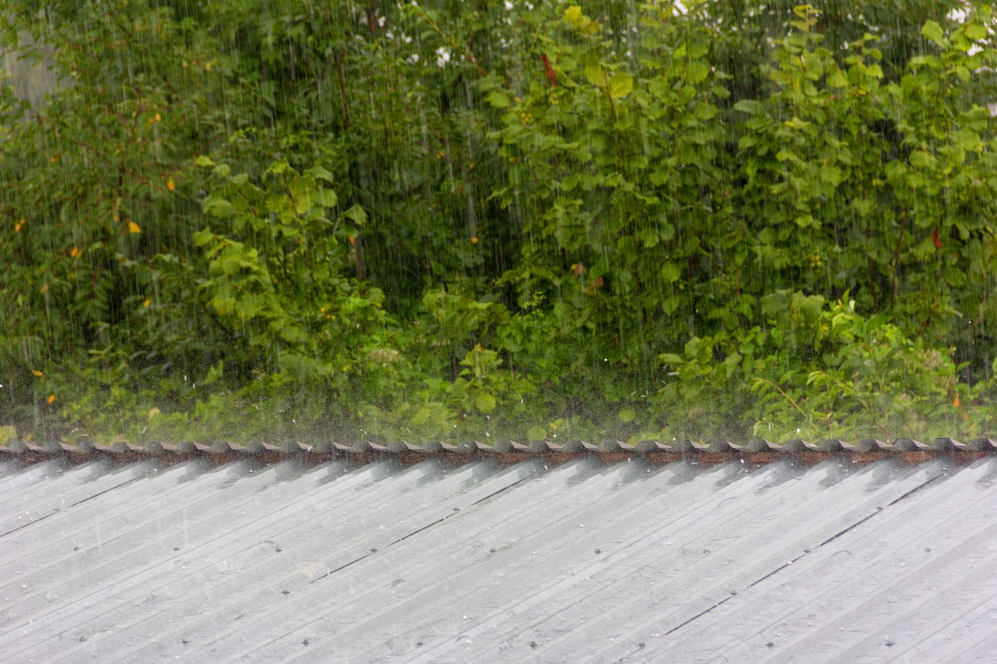 Small hail hitting metal roof