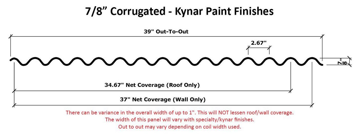 7.8 Corrugated - Bone White Line Drawing