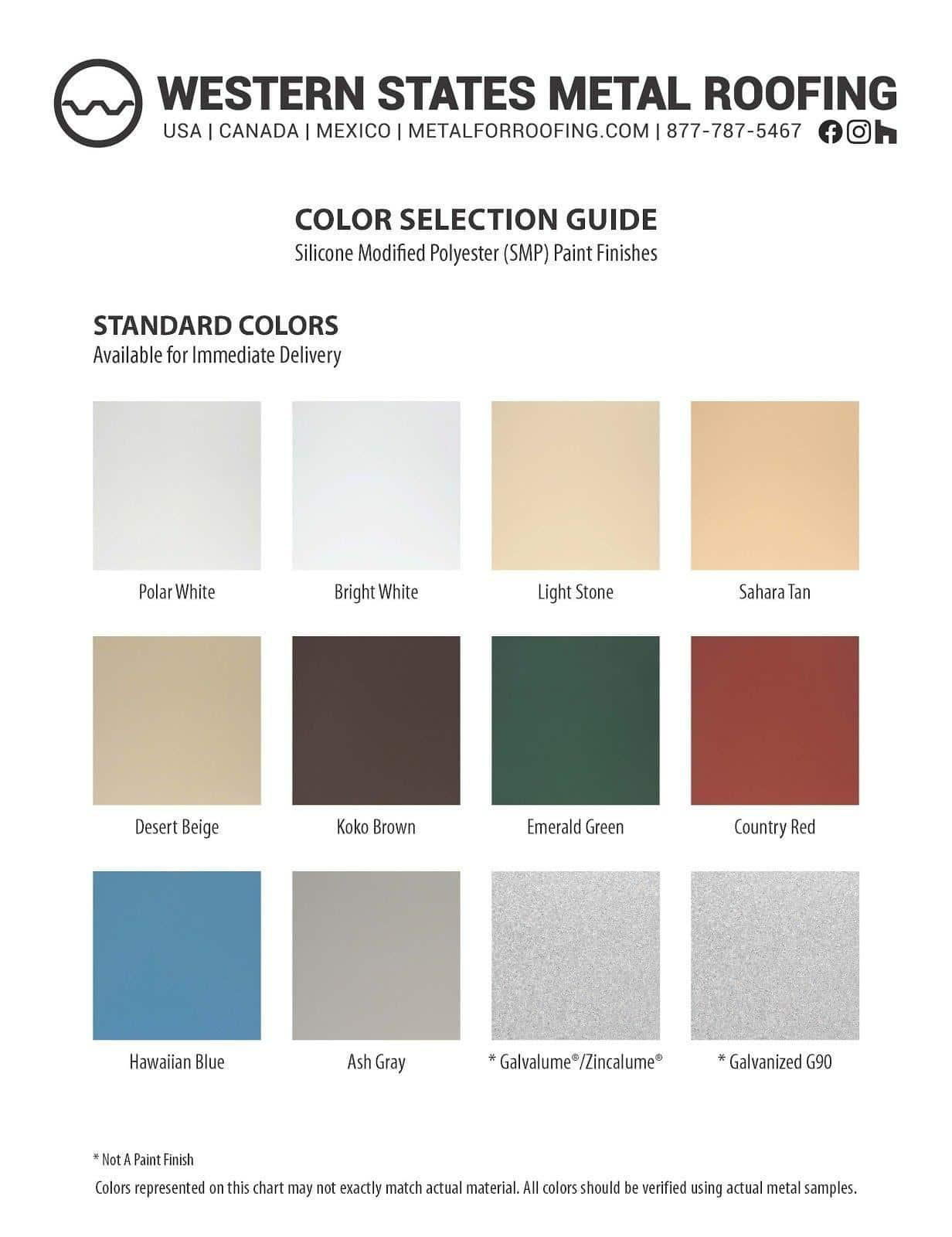 "SMP Color Card - Colors for 7/8"" and 1/2"" Corrugated"