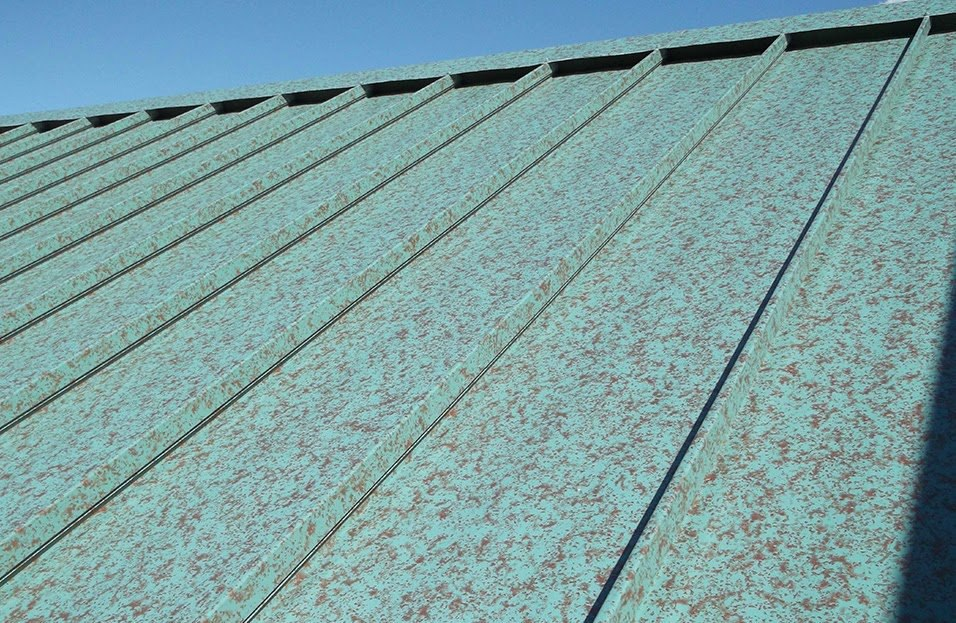Painted Roofing Panels in Green Copper Standing Seam