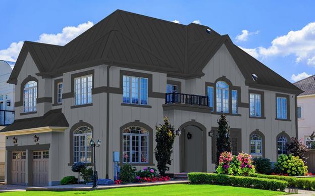 dark gray metal roof on a gray house