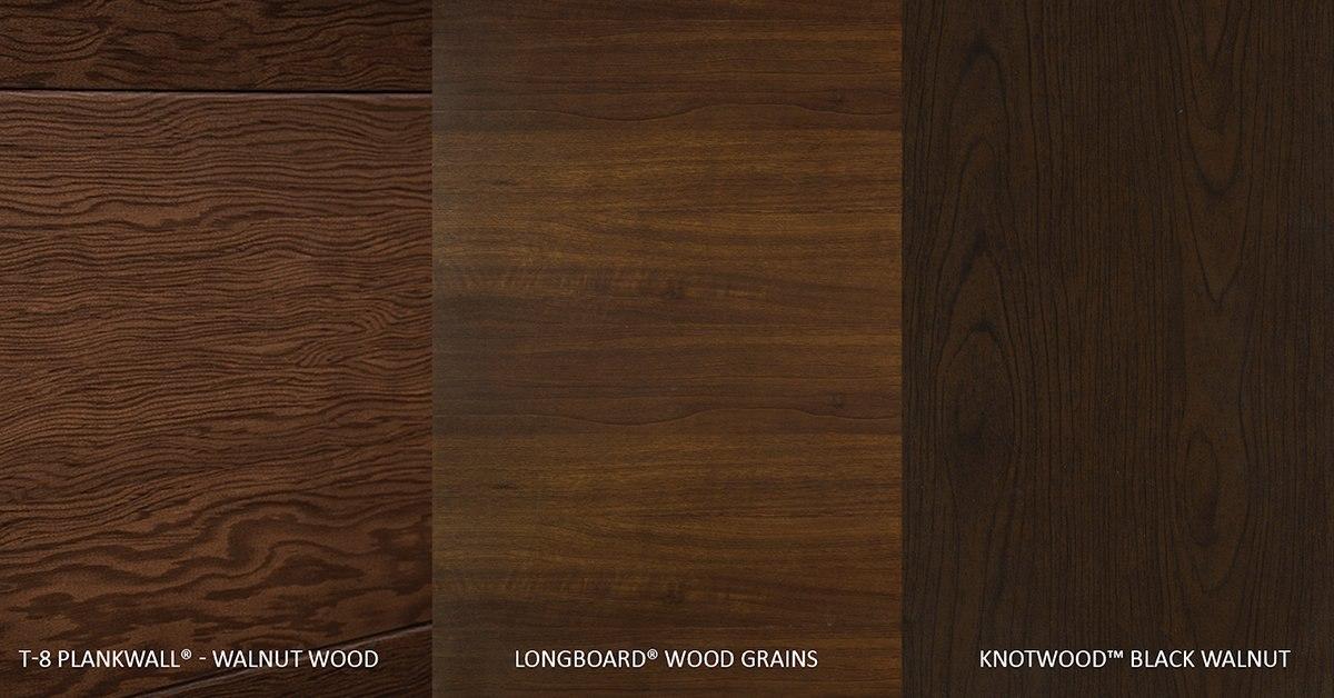 Metal That Looks Like Walnut Wood: T-8 Plankwall® v. Longboard® v. Fabral Knotwood™